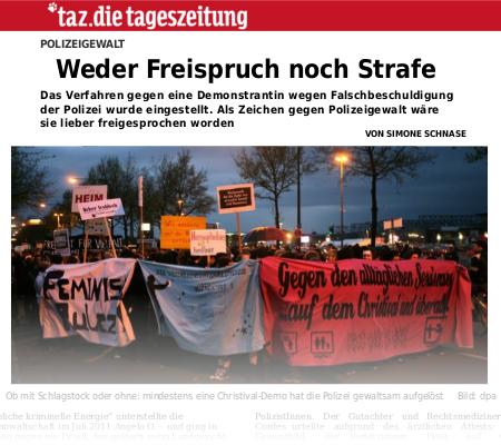 taz-Artikel vom 17. April 2013 - Weder Freispruch noch Strafe - PDF 160kB
